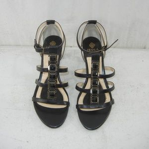 Isola Black Leather High Heels Beads Front Size 8M